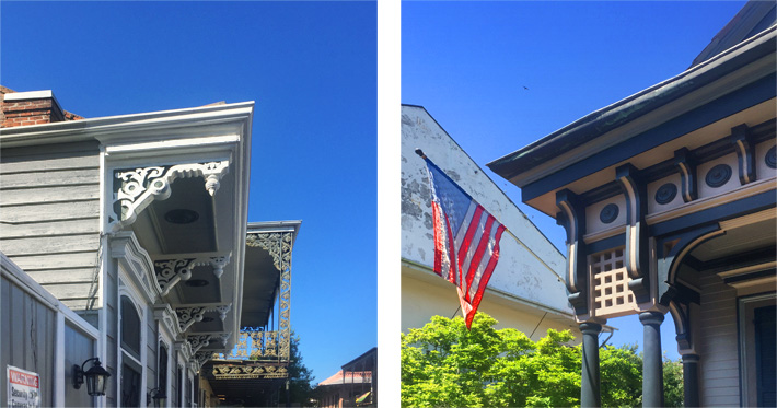 Brackets on Italianate houses in New Orleans
