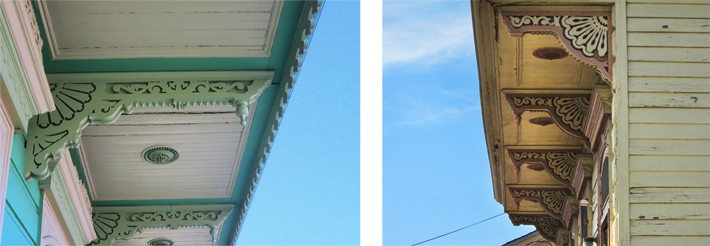 Wood brackets on houses in the Treme